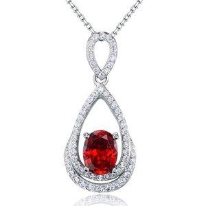 Pandativ cu lantisor din argint Oval Diamond Red