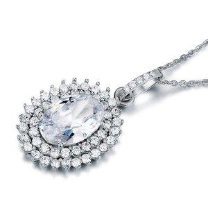 Pandativ cu lantisor din argint Oval Multi Diamond