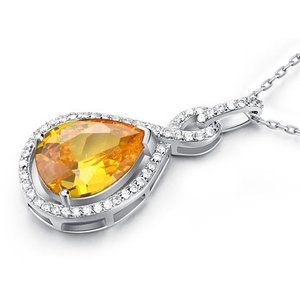 Pandativ cu lantisor din argint Tear Diamond Orange