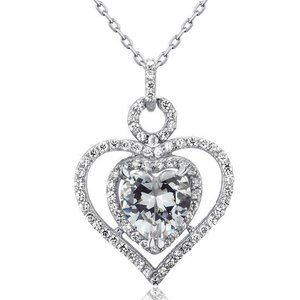 Pandativ cu lantisor din argint Silver Heart Diamond