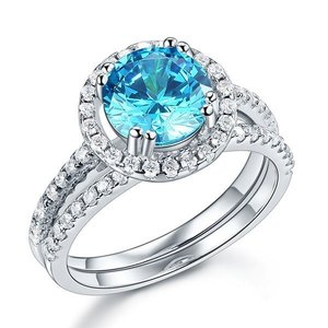 Set inele din argint Blue Round Diamond