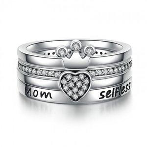 Set inele din argint cu Patru Dorinte pentru Mama
