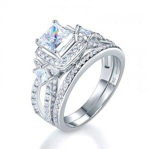 Set Inele din argint Diamond Princess Cut