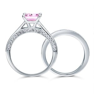 Set inele din argint Double Pink Engagement