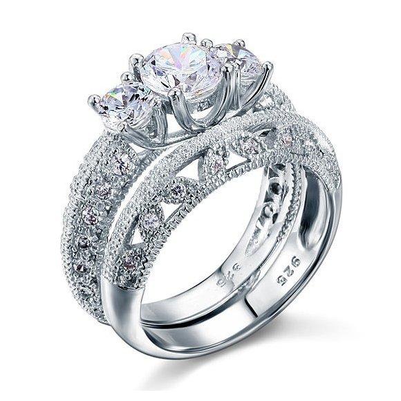 Set inele din argint Luxury Diamond Queen's Ring
