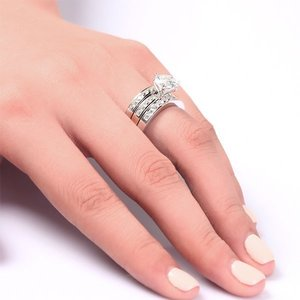 Set inele din argint Triple Diamond Rings