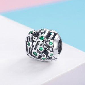 Taliman din argint Cubic Green Stars