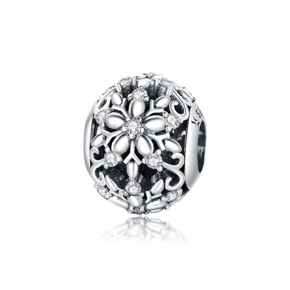 Talisman din argint Beautiful Sparkling Flowers