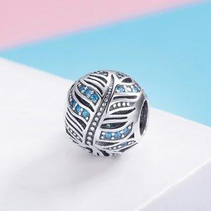 Talisman din argint Blue Crystal Leaf