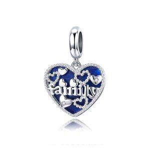 Talisman din argint Blue Family Heart