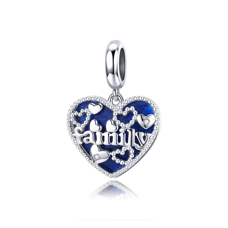 Talisman din argint Blue Family Heart poza 2021
