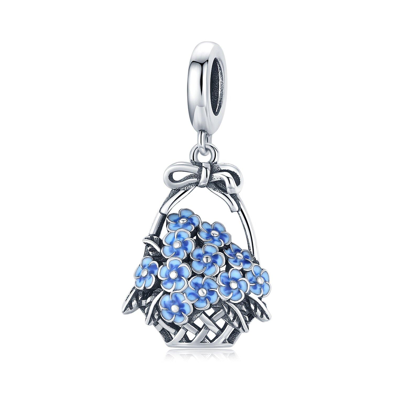 Talisman din argint Blue Little Flowers