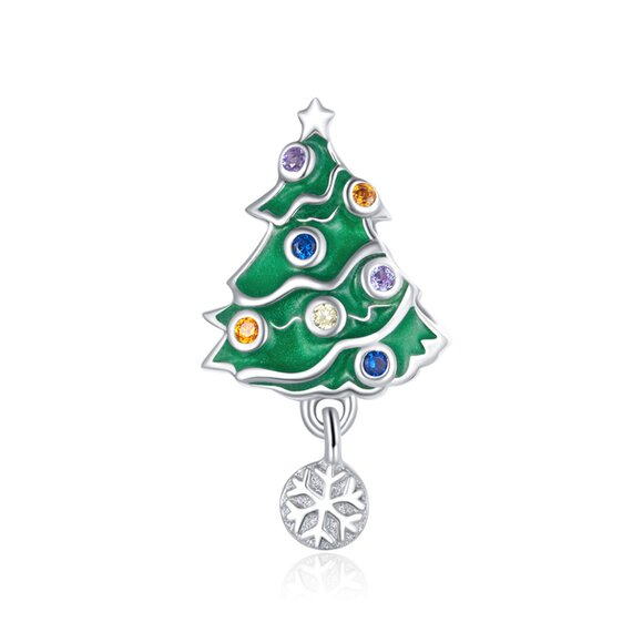 Talisman din argint Christmas Snowflake Tree