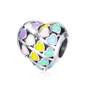 Talisman din argint Colorfull Hearts