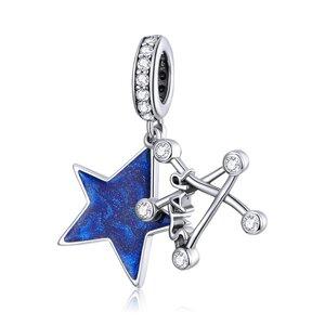Talisman din argint Crystal Blue Star