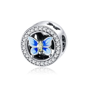 Talisman din argint Crystal Colorful Butterfly