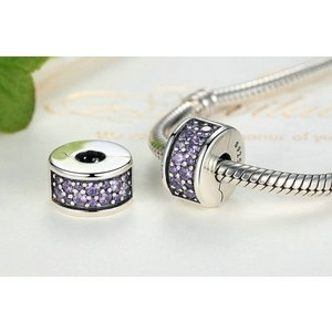 Talisman din argint cu Clips si Cristale Mov