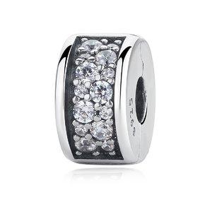 Talisman din argint cu Clips si Cristale Transparente