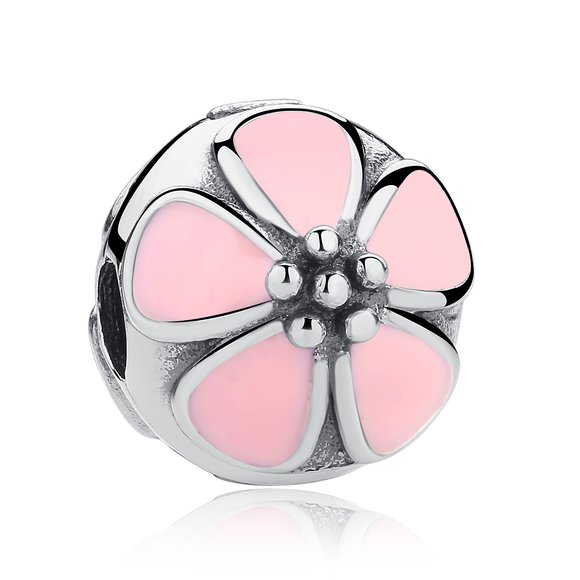 Talisman din argint cu Clips si Floare roz