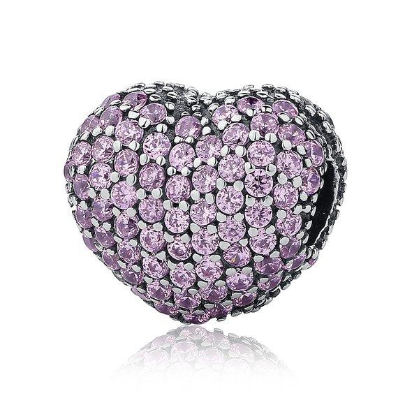 Talisman din argint cu Clips si Inima incrustata cu Cristale