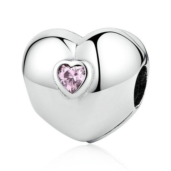 Talisman din argint cu Clips si Inima Roz Incrustata