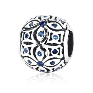 Talisman din argint cu cristale albastre si Flori Orientale