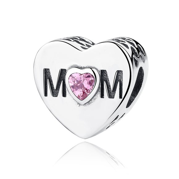 Talisman din argint cu cristale din Inima pentru Mama