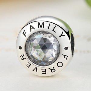 Talisman din argint cu cristale Familie Pentru Totdeauna