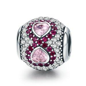 Talisman din argint cu cristale Pink Hearts