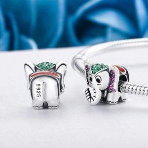Talisman din argint cu Elefant si Cristale colorate