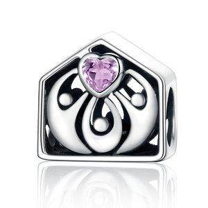 Talisman din argint cu Familie si Inima roz