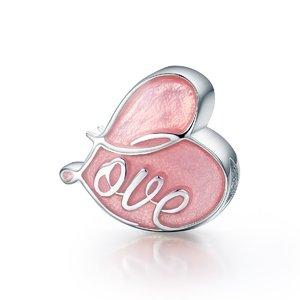 Talisman din argint cu Inima Colorata roz