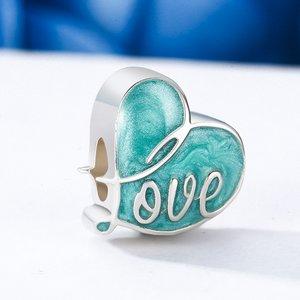 Talisman din argint cu Inima Colorata turquoise