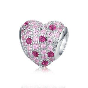 Talisman din argint cu Inima si Cristale Roz