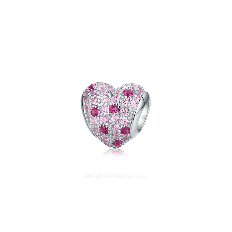 Talisman din argint cu Inima si Cristale Roz poza 2021