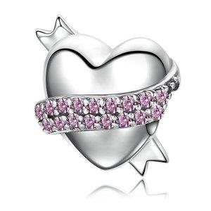 Talisman din argint cu Inima si Cristale Roz Pastel