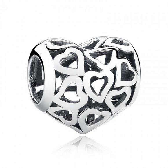 Talisman din argint cu Inimi Decupate