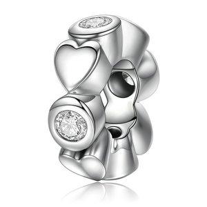 Talisman din argint cu Inimi si Cristale