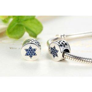 Talisman din argint cu Inimi si Steluta Albastra
