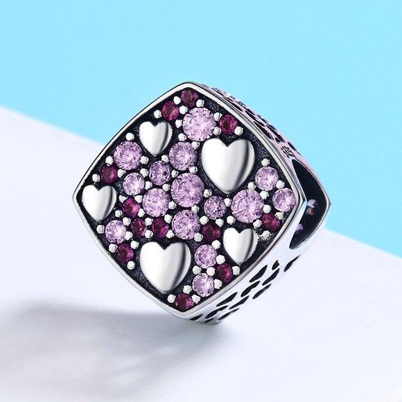 Talisman din argint cu Inimioare Argintii si Cristale Roz