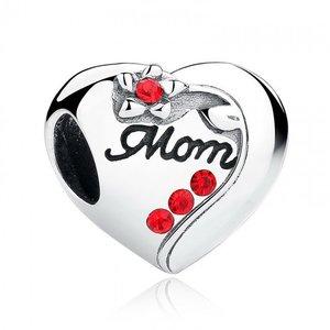 Talisman din argint cu Inimioare Love Mom