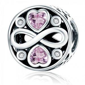 Talisman din argint cu Inimioare si Simbolul Infinitului