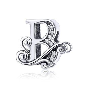 Talisman din argint cu Litera B din Poveste