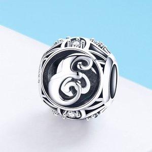 Talisman din argint cu Litera E si cristale