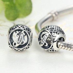 Talisman din argint cu litera J