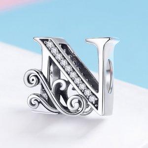 Talisman din argint cu Litera N din Poveste