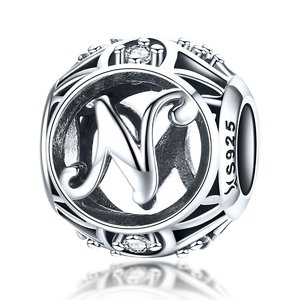 Talisman din argint cu Litera N si cristale