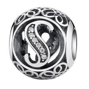 Talisman din argint cu litera S