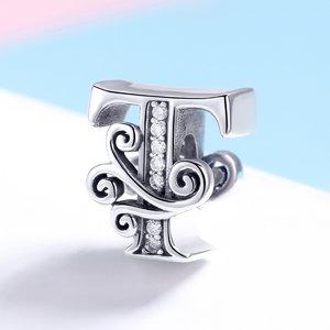 Talisman din argint cu Litera T din Poveste
