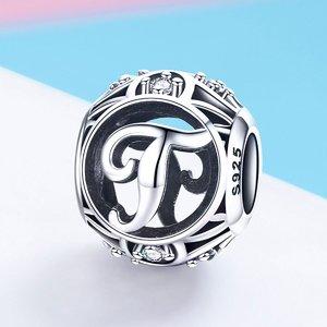 Talisman din argint cu Litera T si cristale